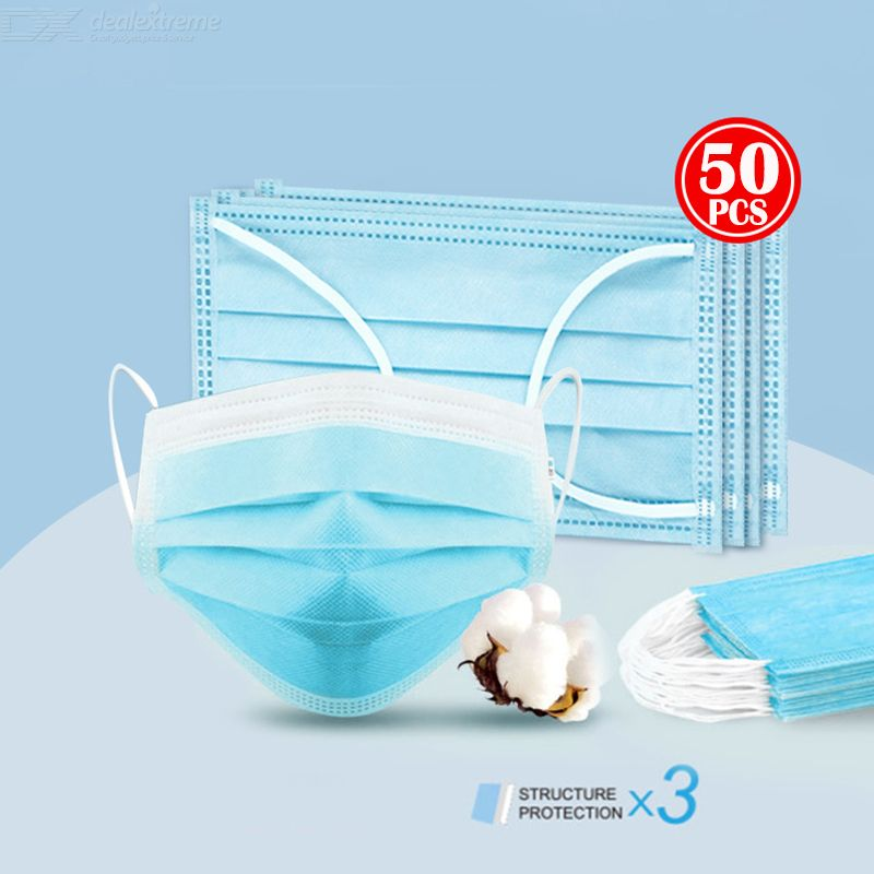 Dealextreme / 50PCS Disposable Protective Masks 3-Layer Non-Woven Fabric Breathable Disposable Face Masks Anti-dust Anti-droplet Face Mask