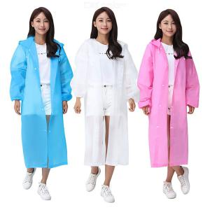 Solid Color Adults Hooded Raincoat, Unisex Thickened Frosted EVA Poncho Protective Safety Clothing