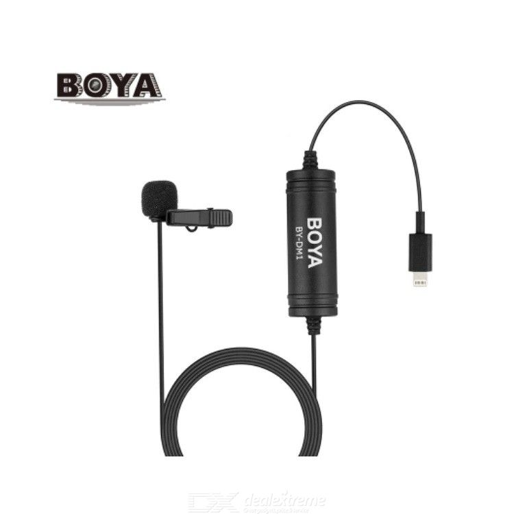 BOYA BY-DM1 DM2  Lapel Lavalier Microphone Omnidirectional Condenser Clip-on Mic / 6m Length Lightning Connector / for iOS iPhon