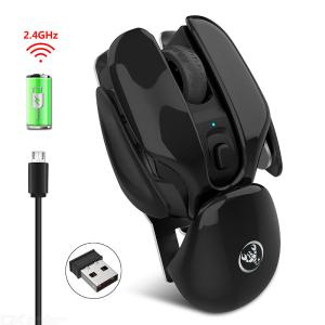 Wireless Silent Mouse 2.4G Rechargeable 4 Button 1600 Adjustable DPI Mouse for Office Home Computer