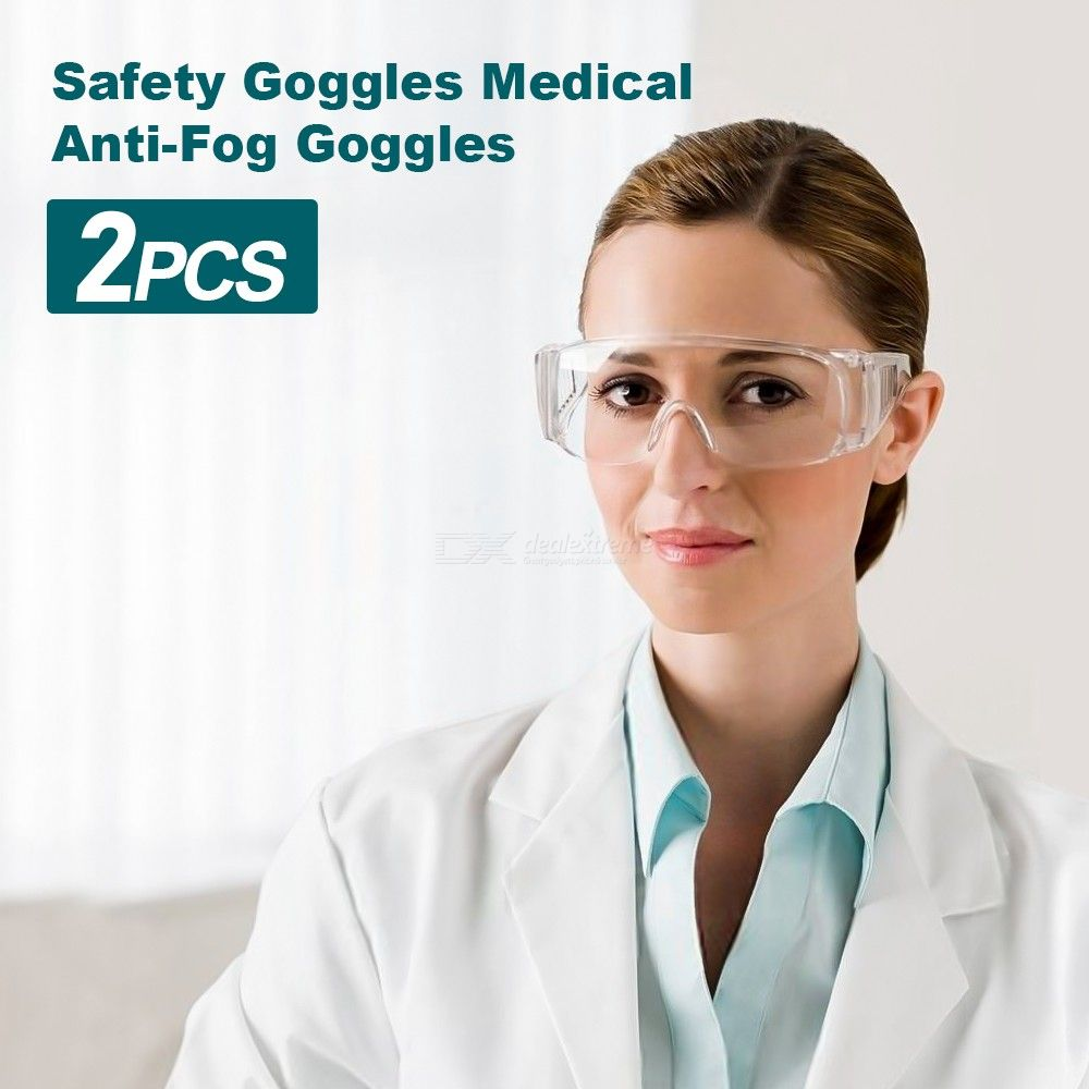 1Pc Protective Safety Goggle Fit For Glass - Anti-Fog Goggles Liquid Splash Resistant Wide Lens For Men Women
