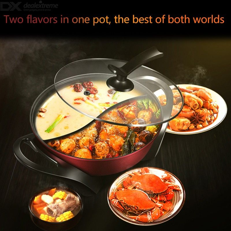 Electric Hot Pot 4.5L Kitchen Soup Stock Pot Cookware Non-stick For Induction Cookers Cooking Pot