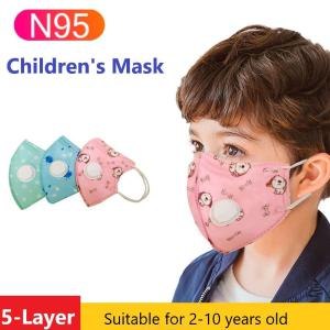N95 Disposable Children Mask, Cute Cartoon Anti-Dust Protective Mask With Breathing Valve Respirator For Kids - Random Color