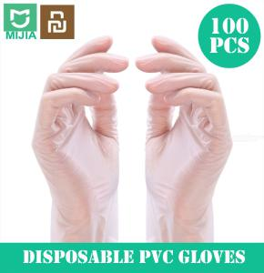 XiaoMi Mijia 100PCS/Box Disposable PVC Transparent Gloves Examination Gloves Protective Gloves (L Size)