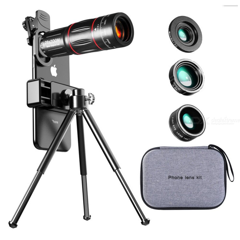 Phone Telephoto Telescope Lens 28X Wide Angle Macro Fisheye set