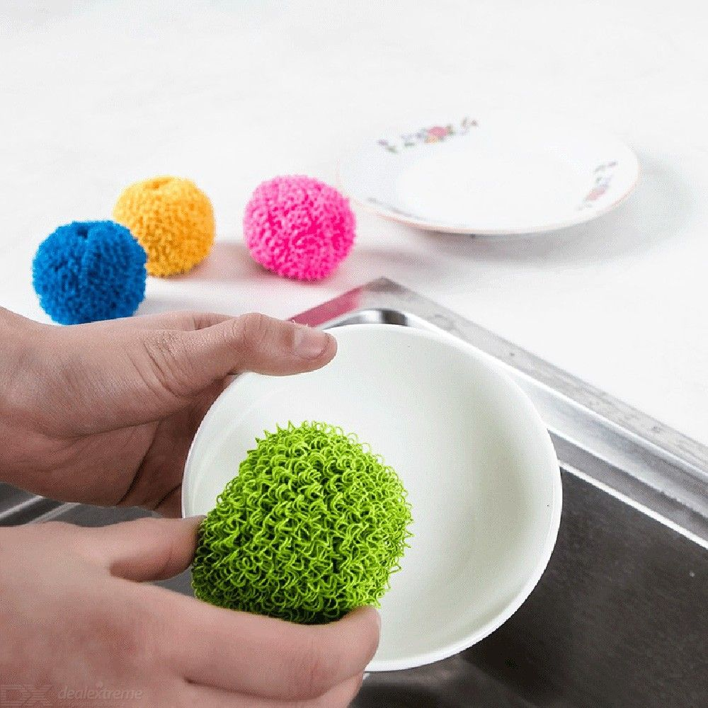 Scratch-Free Dish Scrubber Dish Plate Pot Washing Fiber Steel Ball Cleaning Brush Antibacterial Dishwasher Kitchen Home Cleaner