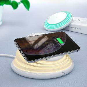 10W Qi Wireless Charger For iPhone 11 Pro Max Night Light Phone Holder Induction Fast Wireless Charging Pad For Samsung
