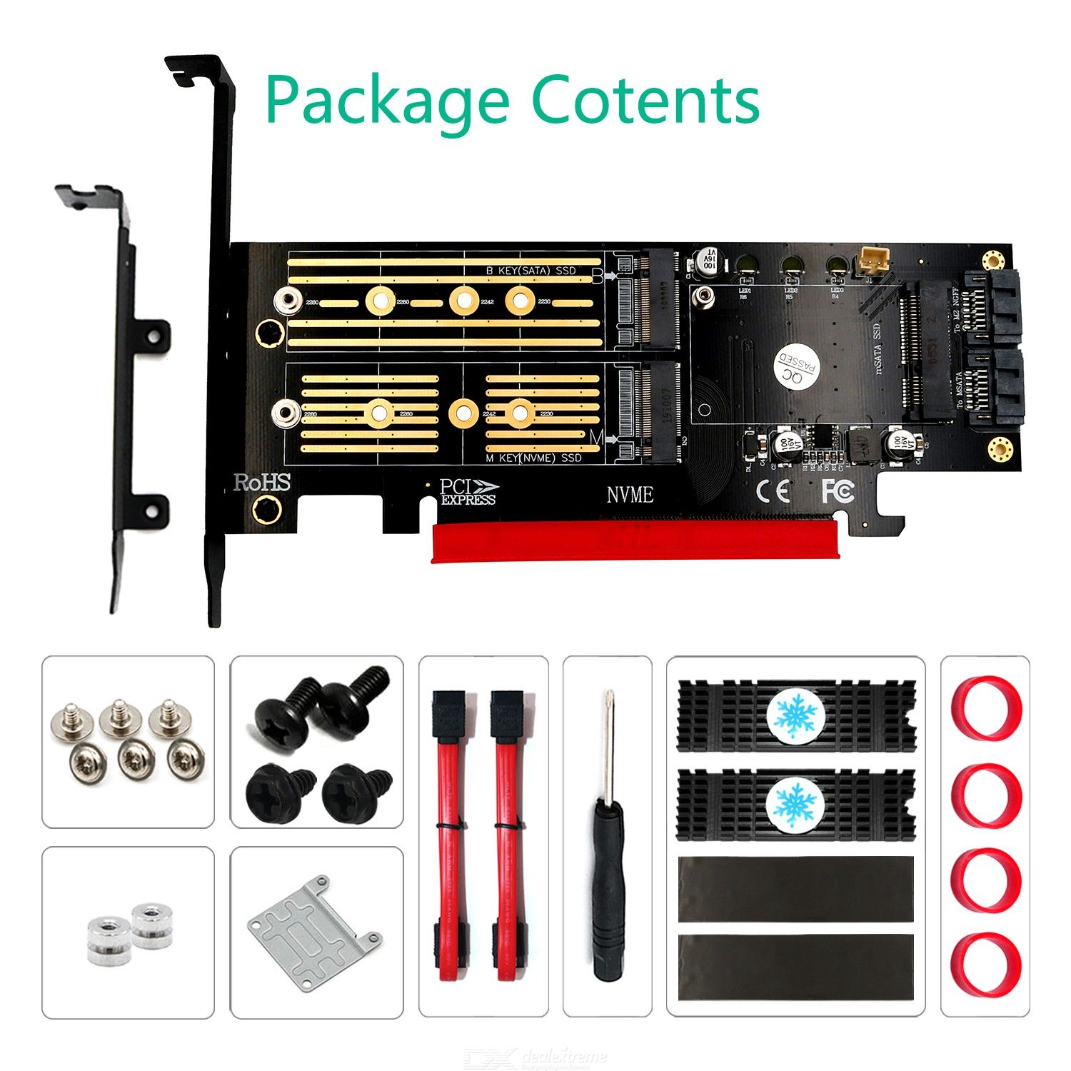 Upgrade Version 3 in 1 Msata and M.2 NGFF NVME  SATA SSD to PCI-E  4X and SATA3 Adapter with Heatsink