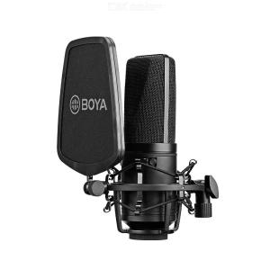 BOYA BY-M1000 Professional Large Diaphragm Condenser Microphone Podcast Mic Kit Support Cardioid/ Omnidirectional/ Bidirectional