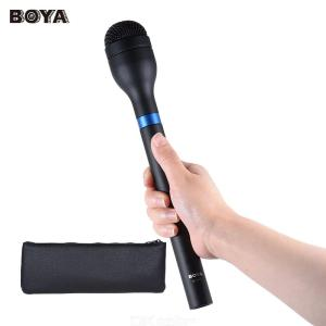 BOYA BY-HM100 Handheld Dynamic Microphone Mic Omni-Directional XLR Connector Extra Long Handle for ENG Interview Recording
