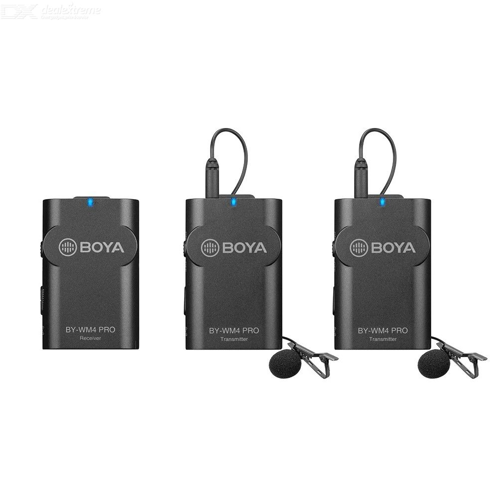 BOYA BY-WM4 Pro K2 Portable 2.4G Wireless Microphone System (Dual Transmitters + One Receiver) with Hard Case for Recording