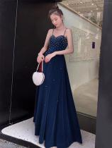 Women's Evening Gown Noble Elegant High Waist Sweetheart Neck Spaghetti Strap Maxi Dress for Cocktail Party Prom Banquet Wedding