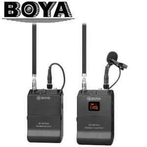 BOYA BY-WFM12 UHF Wireless Microphone System Transmitter Receiver with Omni-directional Lavalier Microphone