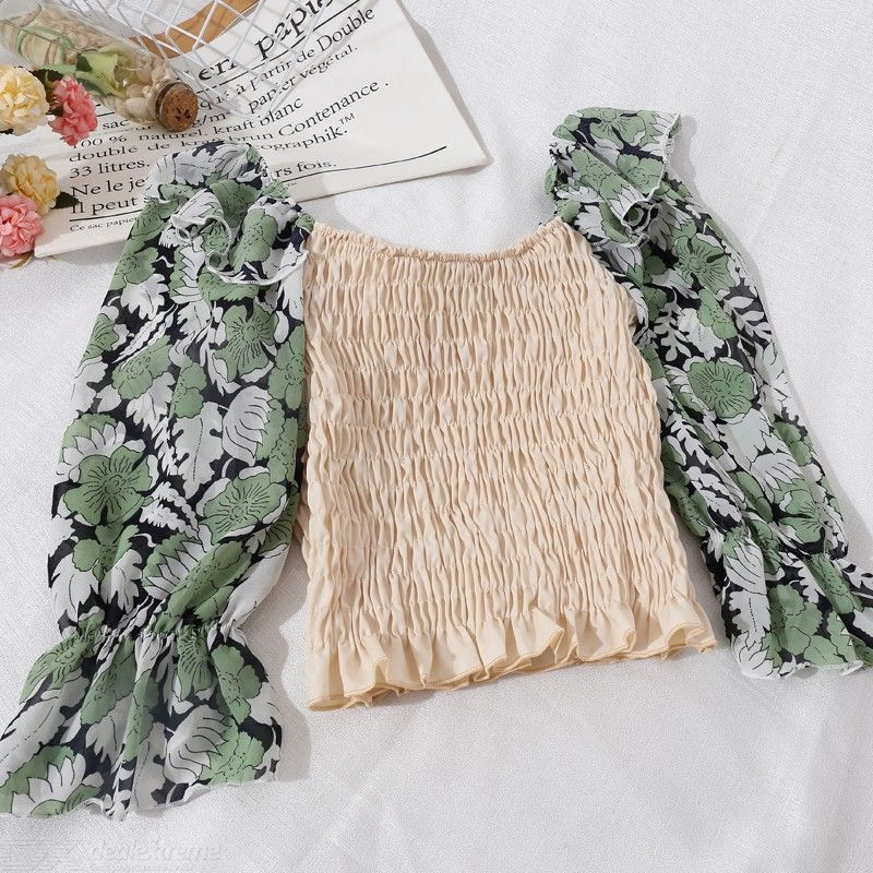 Women?s Chiffon Top Spring Summer Fashionable Sweet Off-The-Shoulder Short Top Long Sleeve Ruffled Floral Print Top