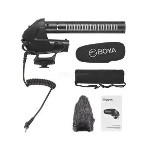 BOYA BY-BM3031 On-camera Shotgun Condenser Microphone Mic Supercardioid 3-level Gain Control Low-cut Filter 3.5mm Plug
