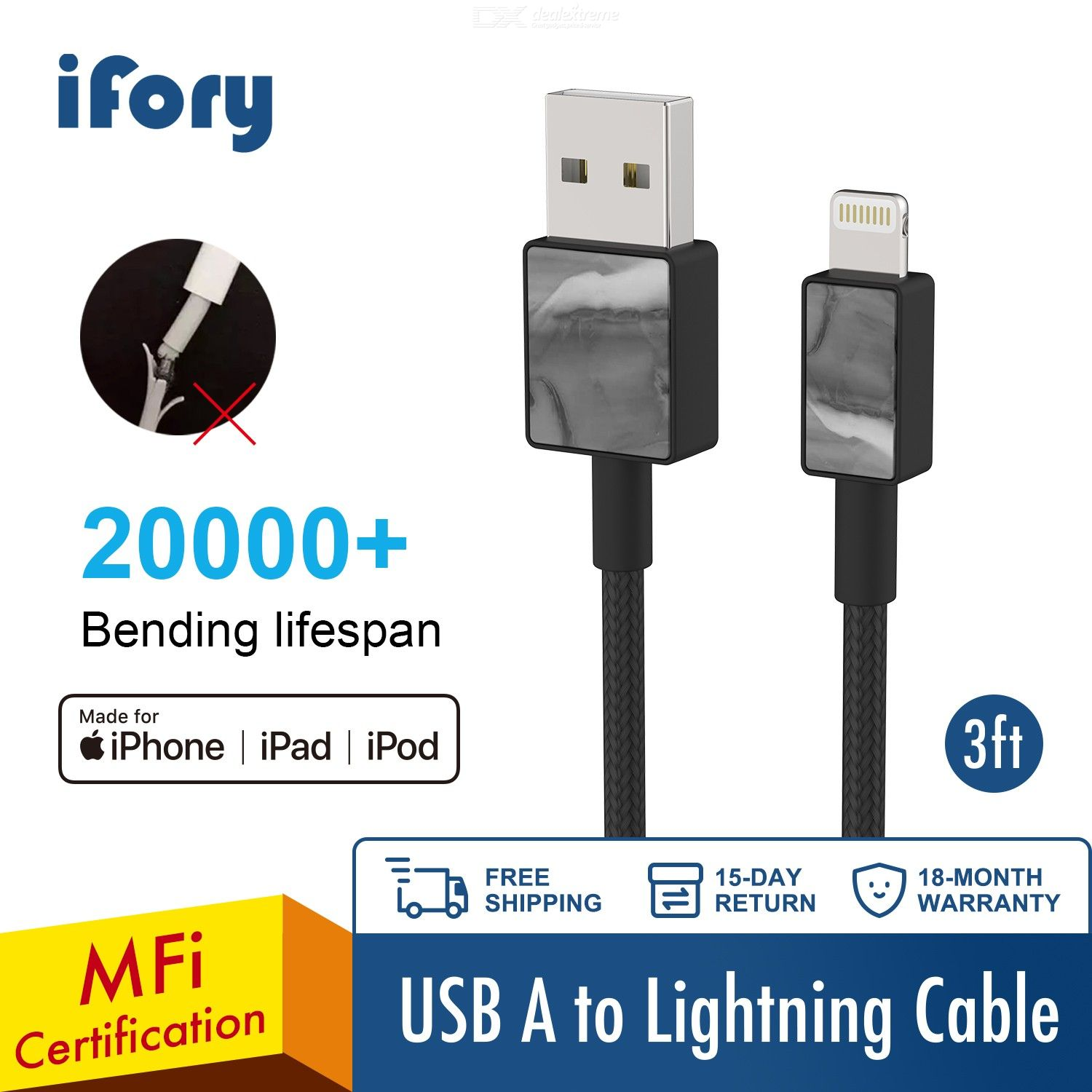 MFI iPhone Charger, iFory Lightning Cable 3ft, Heavy Nylon Braided USB A to Lightning Charging Cable Sturdy Cord 20000+ Lifespan