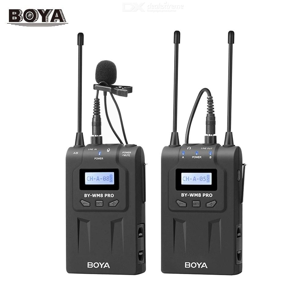 BOYA BY-WM8 Pro-K1 UHF Wireless Microphone System Transmitter + Receiver / 48 Channels Mono / Stereo Mode LCD Display