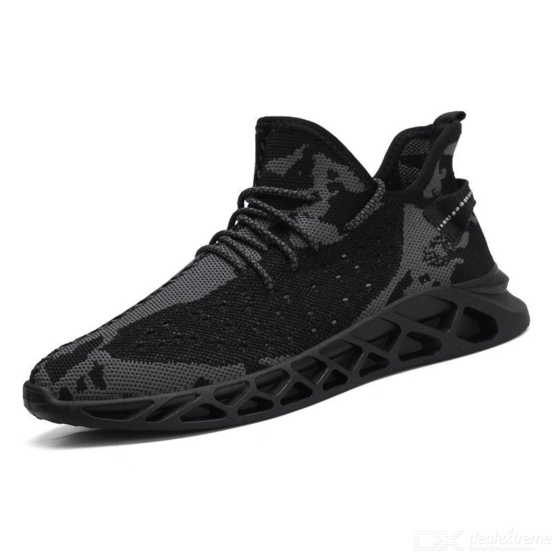 Fashion Men Lace Up Sneakers Simple Breathable Flyknit Sports Running Shoes For Spring Summer