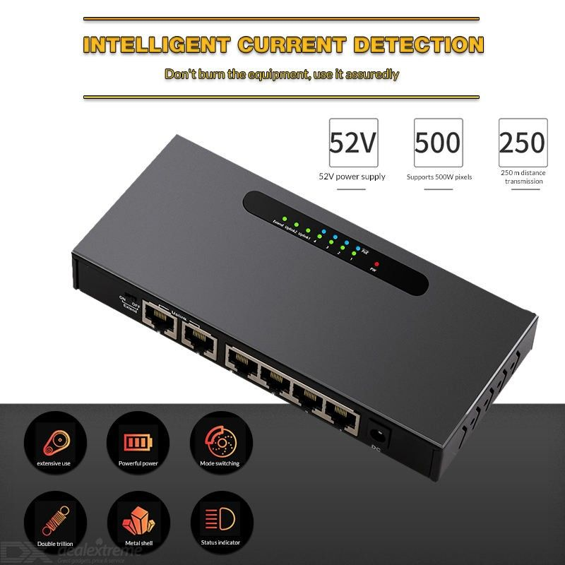 6 Ports Hundred trillion Ethernet 10/100Mpbs Lan Hub Network Switch 4 Ports Poe Injector Power Switch For IP Camera