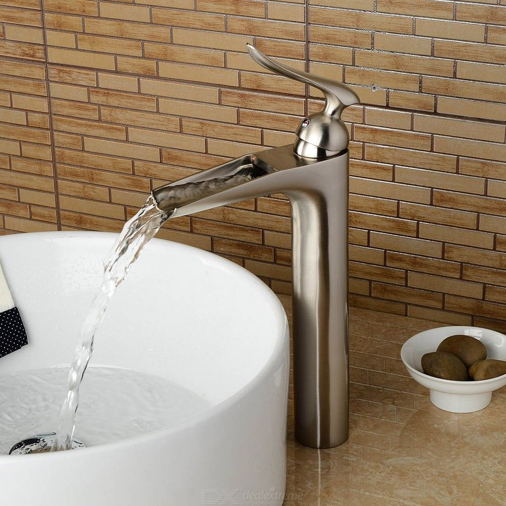 F-0701N1 Bathroom Sink Faucet, Waterfall Brushed Centerset Single Handle One Hole Bath Tap / Brass