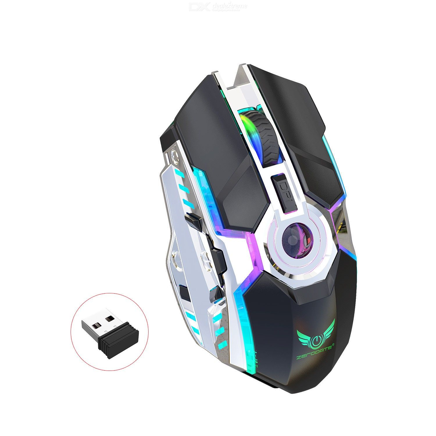 T30B Wireless Mouse USB Rechargeable RGB Illuminated Computer Mouse 2400DPI 2.4GHz Ergonomic Design Optical Mouse