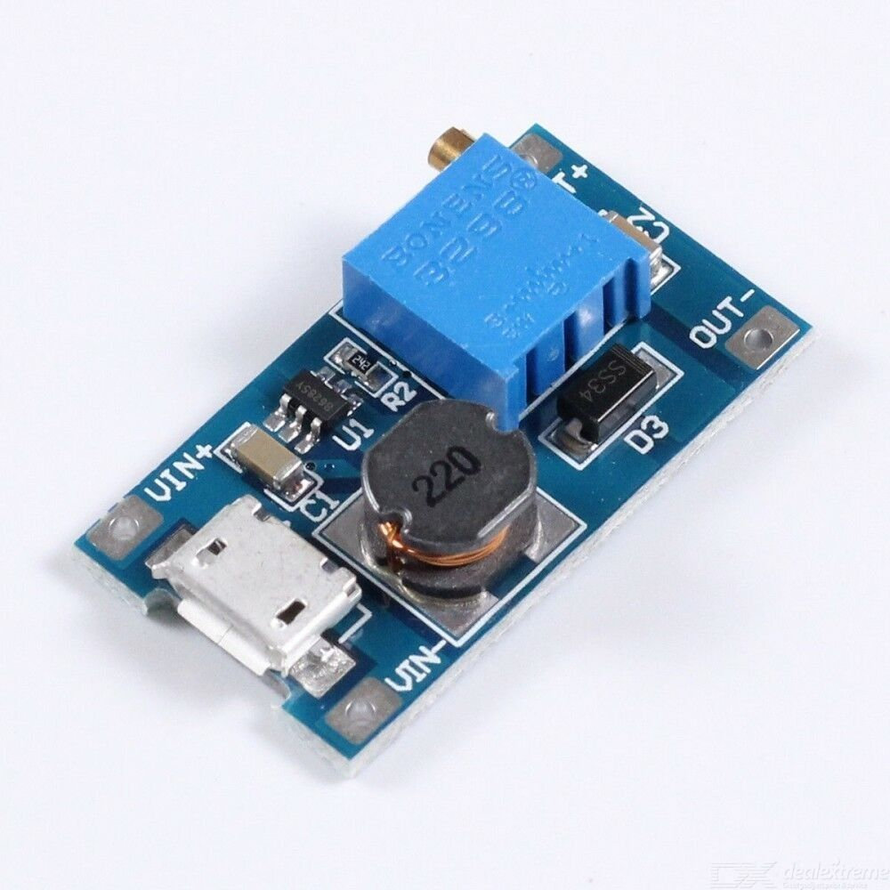 Micro USB DC-DC Voltage Step Up Adjustable Boost Converter Module 2A