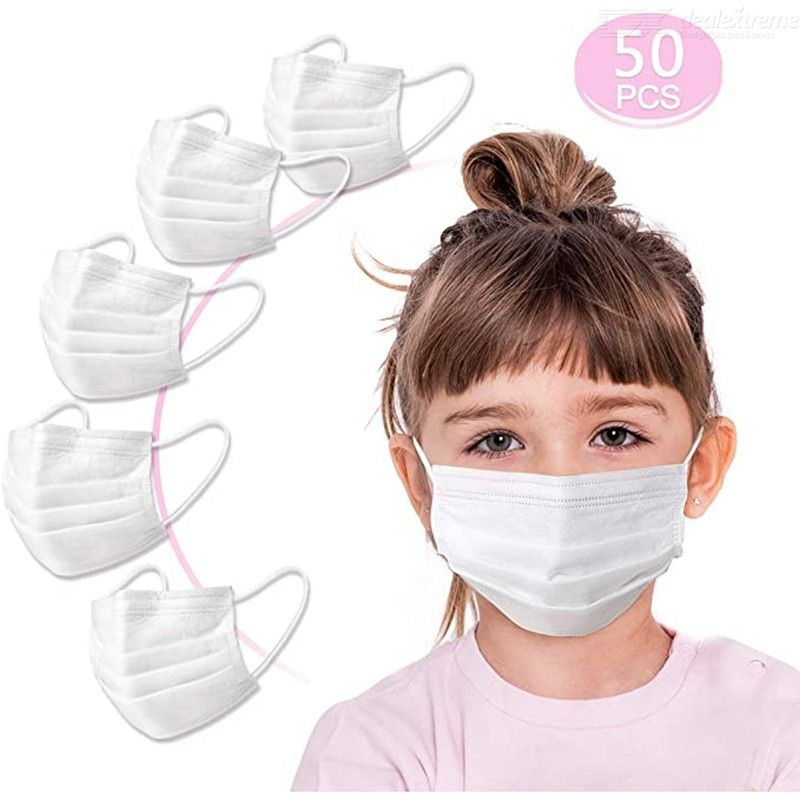50PCS Disposable Face Masks for Kids Children 3Ply Disposable Protective Mouth Masks with Adjustable Nose Clip