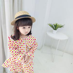 Cute Heart Pattern Lotus Leaf Collar Button Dress For Children Baby Girls