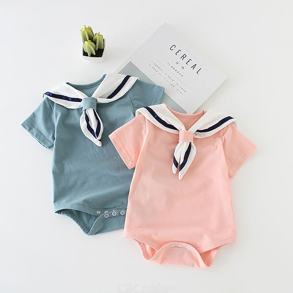 Boys Girls Cotton Triangle Climbing Clothes Navy Style Newborn Baby Clothing