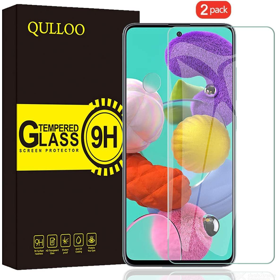 QULLOO Tempered Glass Compatible with Samsung Galaxy A51 / Samsung Galaxy A51 Screen Protector, Screen Protector 2.5D Full Cover