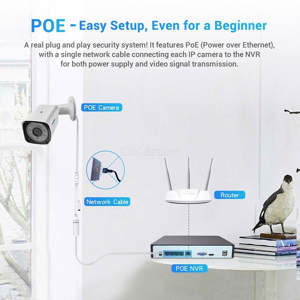 ESCAM PVR604 H.265 1080P 4CH POE NVR Security System with Humanoid Alarm Outdoor IP Camera