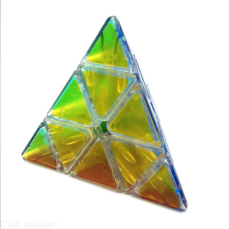 Transparent Pyramid Puzzle Rubiks Cube Educational Toy with Built-in Steel Ball