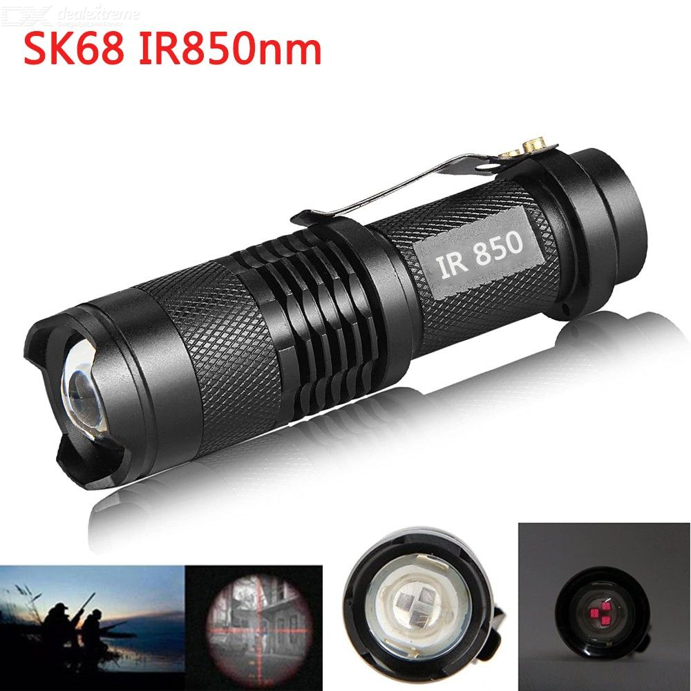 SK68 IR-850/940 Infrared LED Flashlight, Ultra Light 850/940nm Infrared Night Vision Camera Fill Light Lamp AA/14500