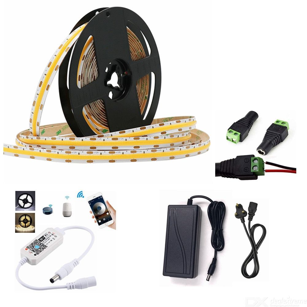 ZHAOYAO Smart WiFi Control Dimming 50W Natural White COB IP44 Waterproof LED Strip with UK Adapter + WiFi Controller