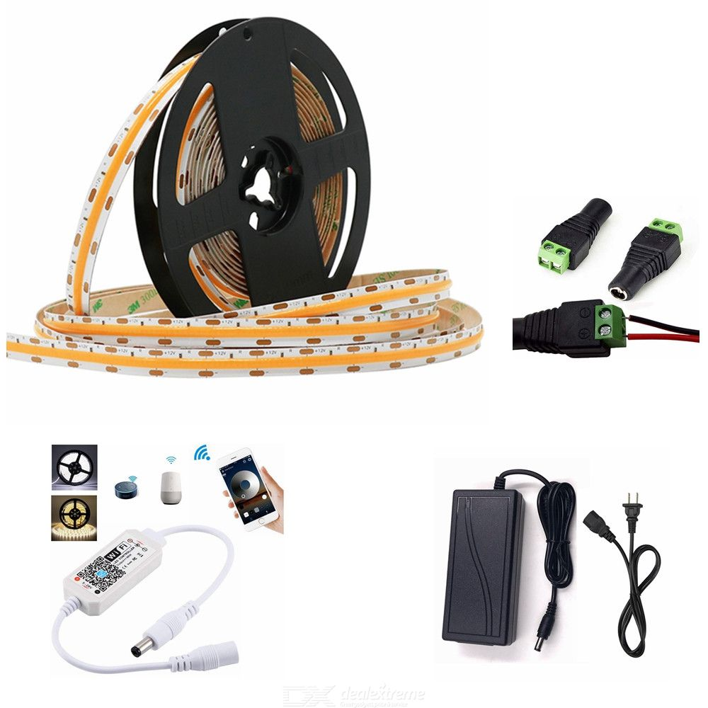 ZHAOYAO Smart WiFi Control Dimming 50W Warm White COB IP44 Waterproof LED Strip with US Adapter + WiFi Controller