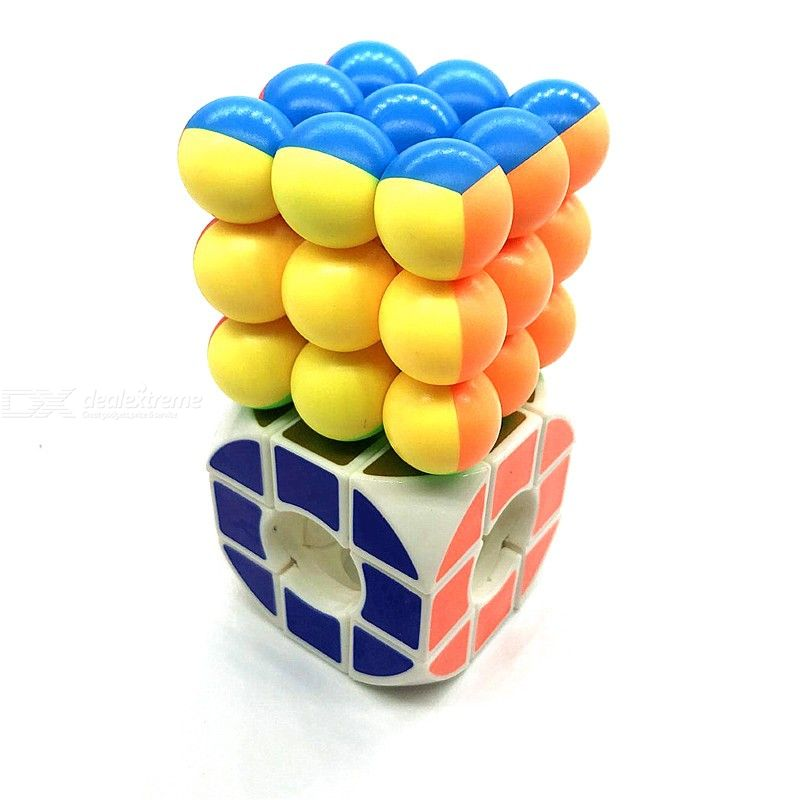 2-Piece Round Spherical Cavity 3x3x3 Magic Balls Rubiks Cube Puzzle Educational Toy
