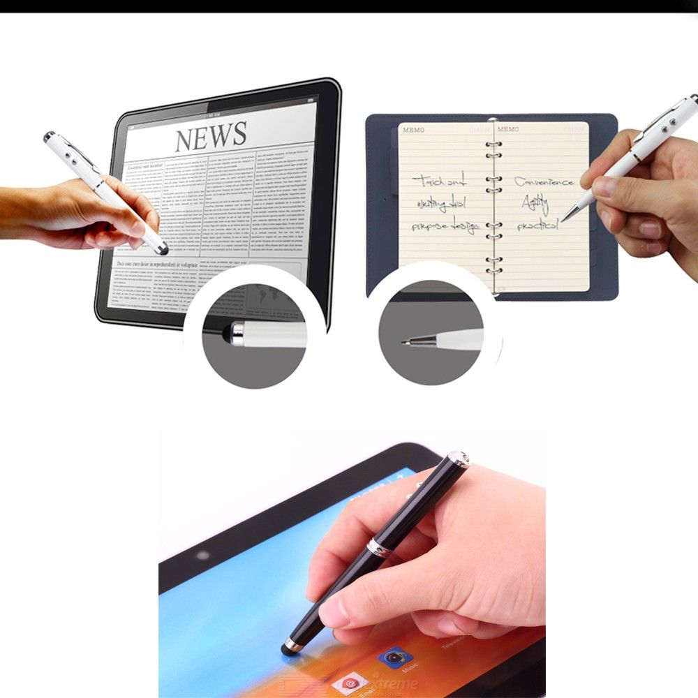 Multi Function 4-in-1 Touch Screen Stylus + Handwriting Pen with Red Laser and LED Lamp for Mobile Phone Tablet
