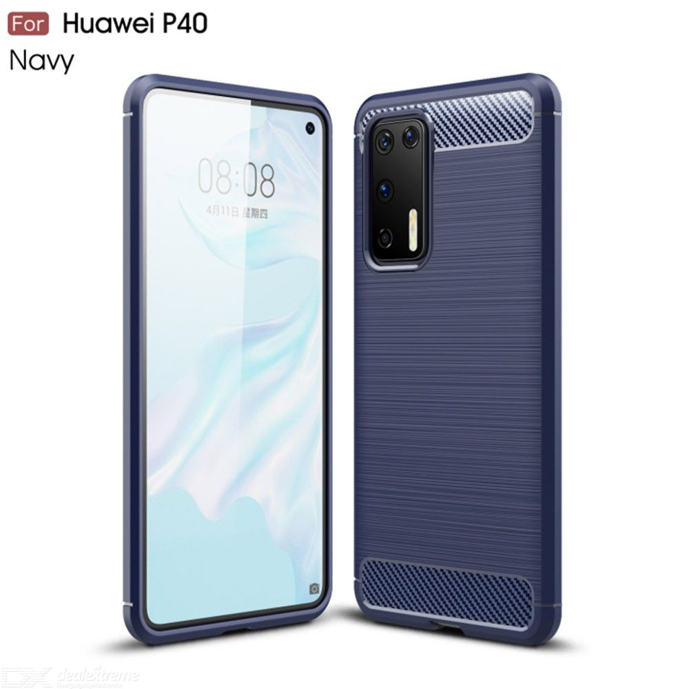 Naxtop Carbon Fiber Brushed Soft Bumper Back Cover Full Protective Phone Case For Huawei P40 Pro / Huawei P40