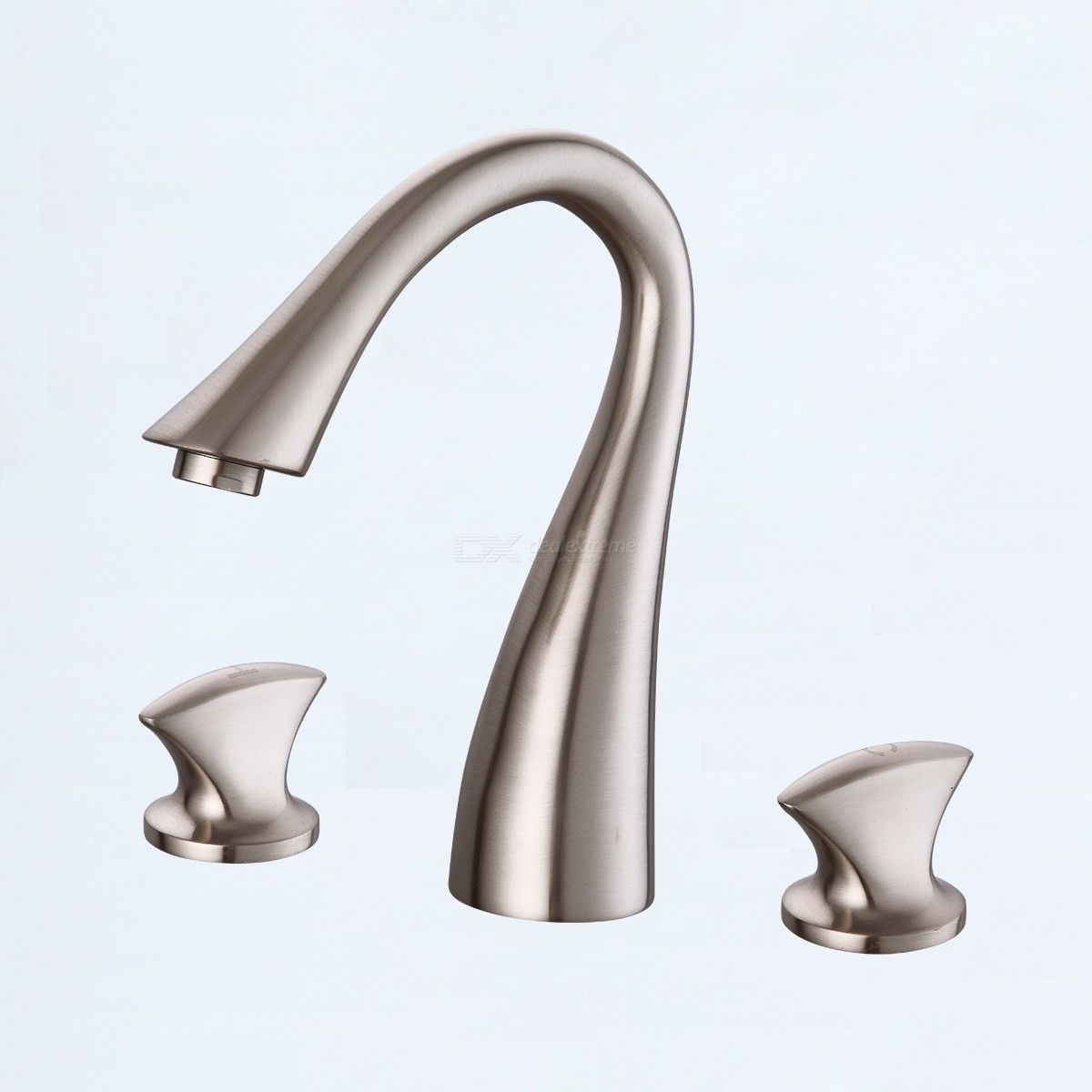 Special Price Bathroom Sink Faucet - Widespread Nickel Brushed Widespread Two Handles Three Holes Bath Taps / Brass