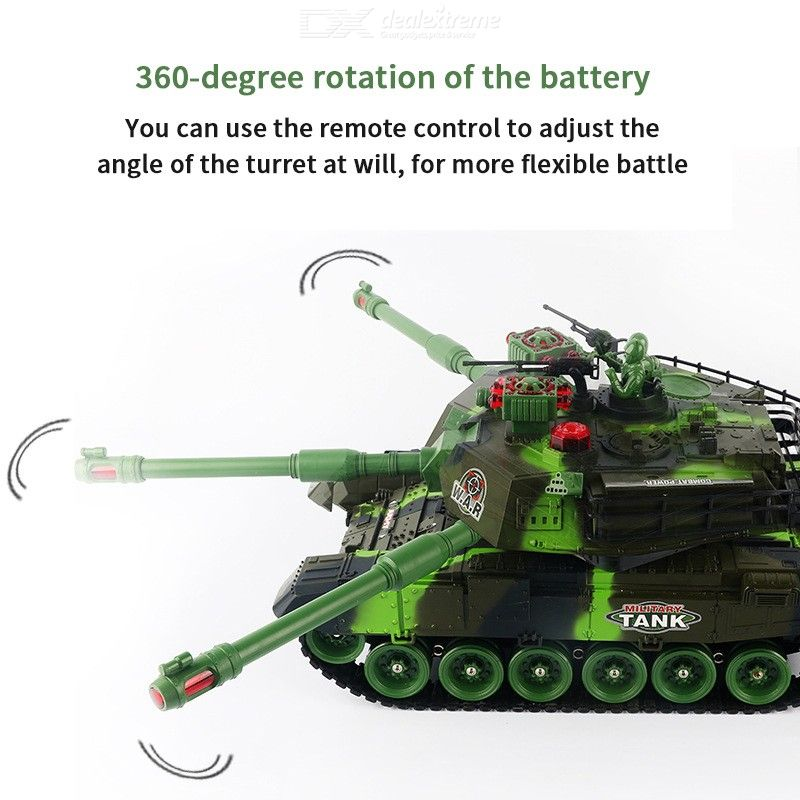 44CM RC Tank Remote Control Battle Military Tank With Rotating Turret LED Light