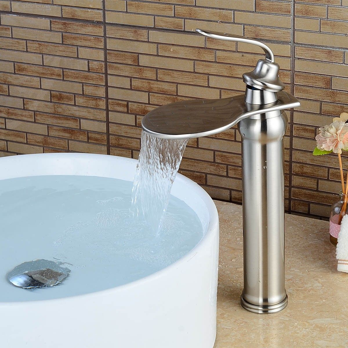 Contemporary Brass Centerset Waterfall Ceramic Valve Single Handle One Hole Nickel Brushed, Bathroom Sink Faucet