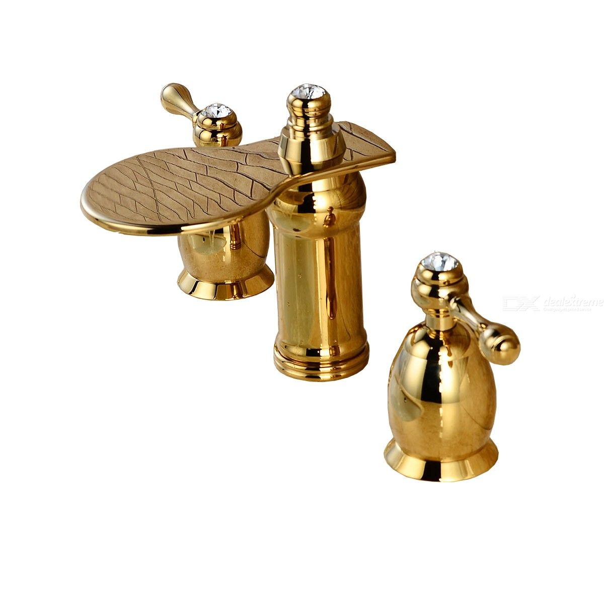 Special Price Bathroom Sink Faucet - Widespread Gold Two Handles Three Holes Bath Taps / Brass