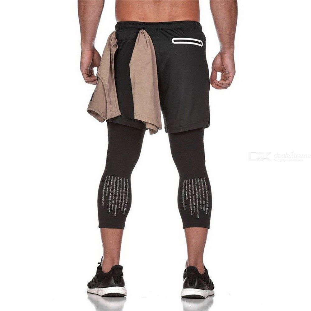 Cycling Shorts, Sports Pants Men Elastic Two-Piece Running Training Pants Gyms Ankle-Length Pants Quick-drying Men Pants