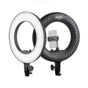 Godox LR180 Ring LED Video Light Cold Color Temperature with White Light-passing Board Phone Holder for Live Streaming Shooting