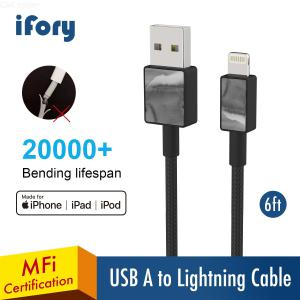 MFI iPhone Charger, iFory Lightning Cable 6ft, Heavy Nylon Braided USB A to Lightning Charging Cable 20000+ Lifespan