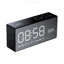 X9 Rechargeable Mirror Bluetooth Speaker Digital Display Pure Bass Hi-Fi Wireless Speaker Fm Aux Alarm Clock - Black