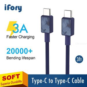 iFory 3Ft 0.9m Type C to Type C Cable, 60W PD2.0 QC3.0 USB C Flash Charge Cord For Android Huawei / Xiaomi / Matebook / Macbook