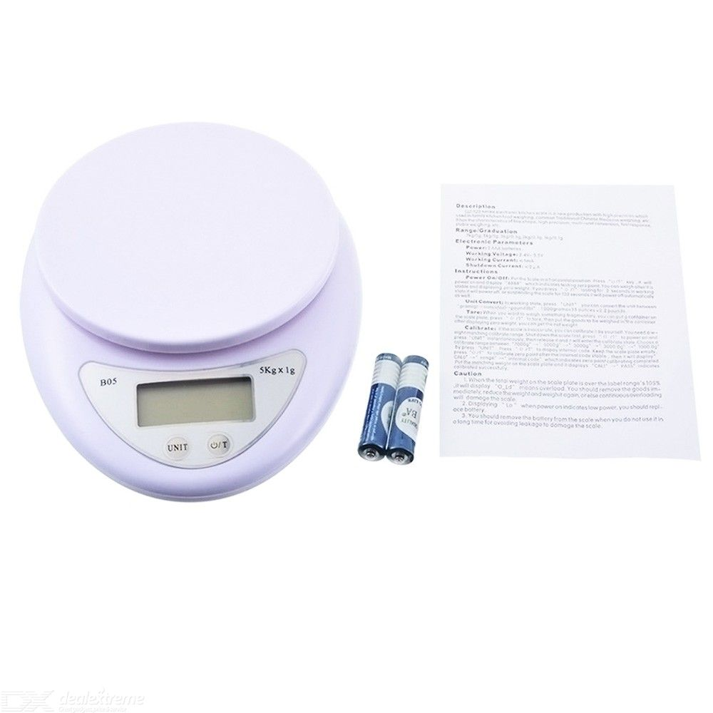 5kg / 1g Precise Kitchen Scale with Tray Fruit Scale Medicine Scale