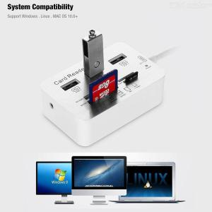 Aluminum Alloy Type-C 3.1 to USB3.0 3-in-1 Card Reader Supports MS SD M2 TF, Multifunction Hub