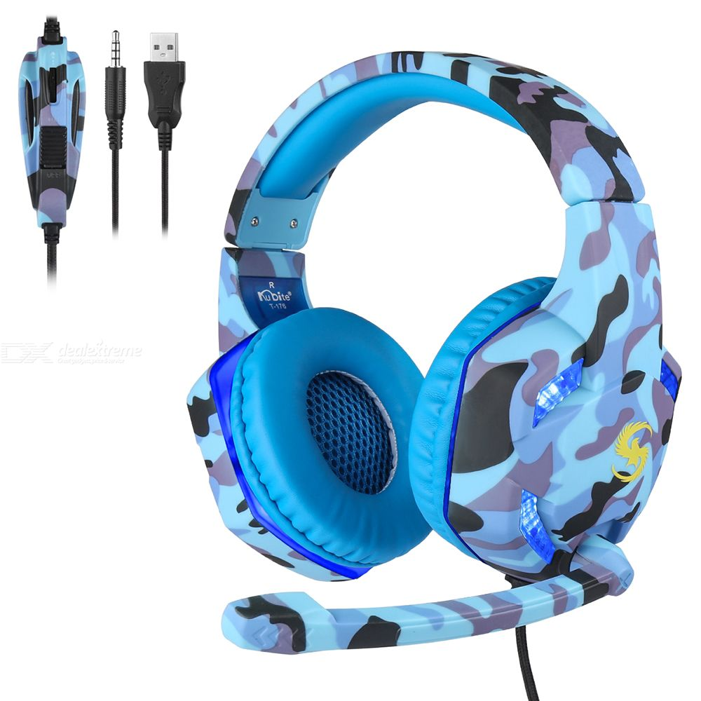 T-176 Camou 3.5mm PC Gaming Headset Backlit Deep Bass Headphone With External Microphone